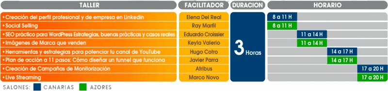 Calendario de los talleres presenciales de Canarias Digital