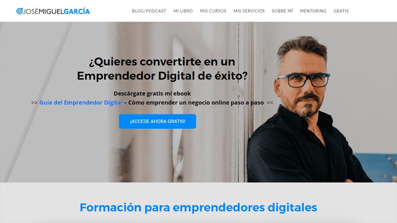 José Miguel García - Portada del sitio web